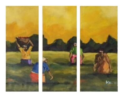 AFRICAN OIL PAINTING SET OF 3 (900X300)