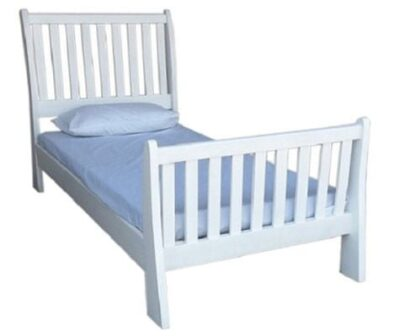 BUD SLEIGH BED (SINGLE) 'WHITE'
