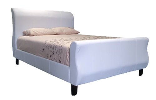 SLEIGH BED (QUEEN XL) 'BONDED PU' -WHITE-