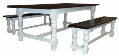 MC GILL 6STR DINING SET SPECIAL (2TONED distressed white/wallnut)