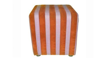 1 OTTOMAN (420 X 420) 'GATSBY 4' orange stripe
