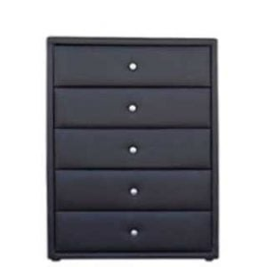 AMELIA 5 DRAWER CHEST 'PU' black