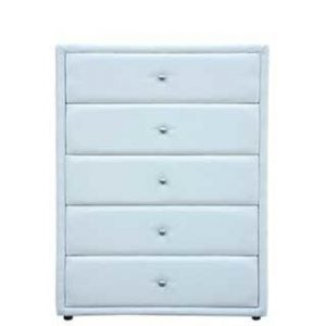 AMELIA 5 DRAWER CHEST 'BONDED PU' white