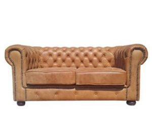 CHESTERFIELD 2SEATER SOFA (2000 x 1000) 'LEATHER BUFFED' whiskey