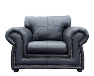 ROXANNE ARMCHAIR (1340 X 900) 'LEATHER STANDARD' black