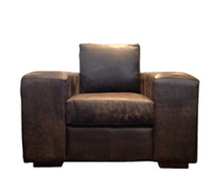 SHAKA ARMCHAIR (1250 X 900) 'LEATHER BUFFED' brown