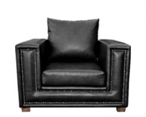 TOWNHOUSE ARMCHAIR (1120 X 940) 'BONDED PU' black