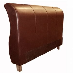 SLEIGH HEADBOARD (DOUBLE) 'LEATHER STD' cape oxblood