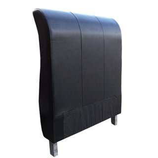 SLEIGH HEADBOARD (SINGLE) 'BONDED PU' black