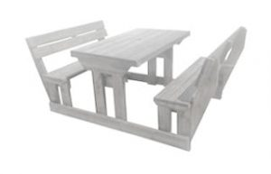SUNSET 4SEATER BENCH + BACK (1200 x 1500) 'SOLID PINE' white