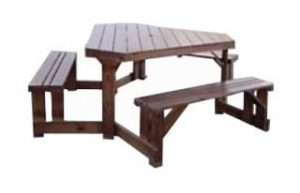 SUNSET 6STR TRIANGULAR BENCH (2100DIA) 'SOLID PINE' brown