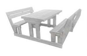SUNSET 6SEATER BENCH + BACK (150X150) 'SOLID PINE' white