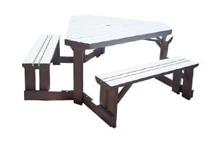 SUNSET 6STR TRIANGULAR BENCH (2100DIA) 'SOLID PINE' white