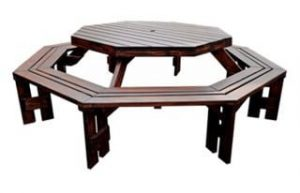 SUNSET 8SEATER OCTAGONAL BENCH 'SOLID PINE' brown
