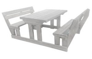SUNSET 8SEATER BENCH + BACK (180X150) 'SOLID PINE' white