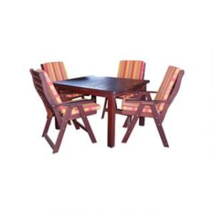 BAY 5PC DINING SET (1100 TABLE) 'SOLID TEAK' incl cushions