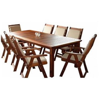 BAY 9PC DINING SET (2400 TABLE) 'SOLID TEAK'