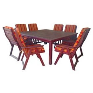 BAY 9PC DINING SET (SQUARE) 'SOLID TEAK' incl cushions