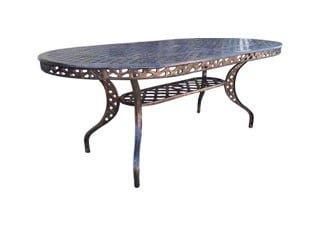 COTTAGE 6SEATER OVAL (+LIP) TABLE (1740 x 990) 'cast alum' bronze