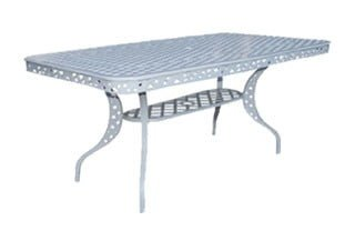 COTTAGE 8SEATER RECTANGULAR (+LIP) TABLE (2200 x 990) 'cast alum' white