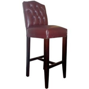 EMPIRE BAR CHAIR (BUTTON BACK) 'LEATHER' -OXBLOOD-