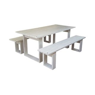 ISLAND PATIO TABLE 6STR (1600X100) PINE (white)