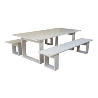 ISLAND PATIO TABLE 8STR (2400X100) PINE (white)
