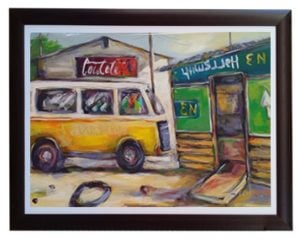 AFRICAN FRAMED OIL PAINTING (1300 X 1000) VEHICLE