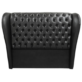 CHESTERFIELD WING HEADBOARD (DOUBLE) 'BONDED PU' black