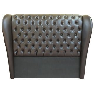 CHESTERFIELD WING HEADBOARD (DOUBLE) 'BONDED PU' brown